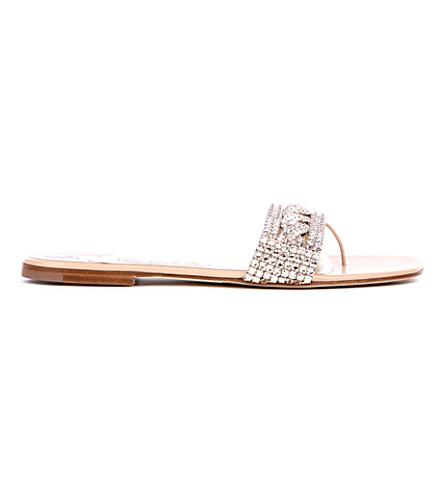 GINA Athena Swarovski-embellished sandals (Nude