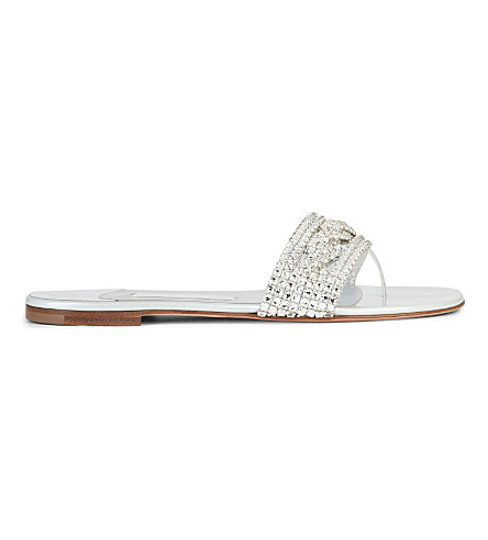 GINA Athena embellished leather sandals (Silver