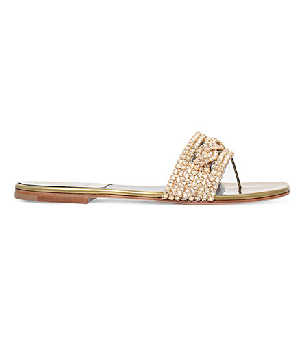 GINA Athena embellished leather sandals (Gold+comb