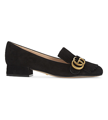GUCCI Marmont suede loafers (Black