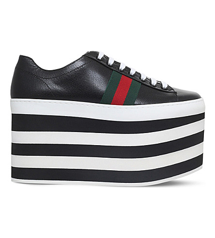 GUCCI Peggy leather platform trainers (Blk/white