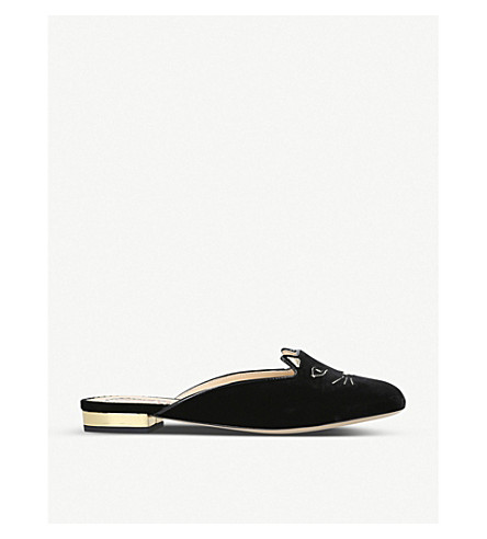 CHARLOTTE OLYMPIA Kitty backless velvet slippers (Blk/other