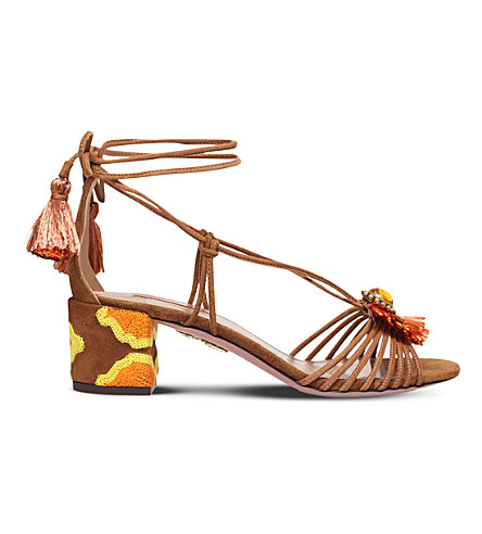 AQUAZZURA Samba embroidered suede sandals (Tan