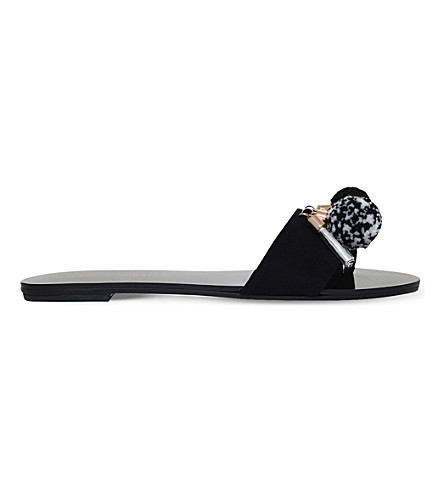 SOPHIA WEBSTER Jada pompom suede slides (Black