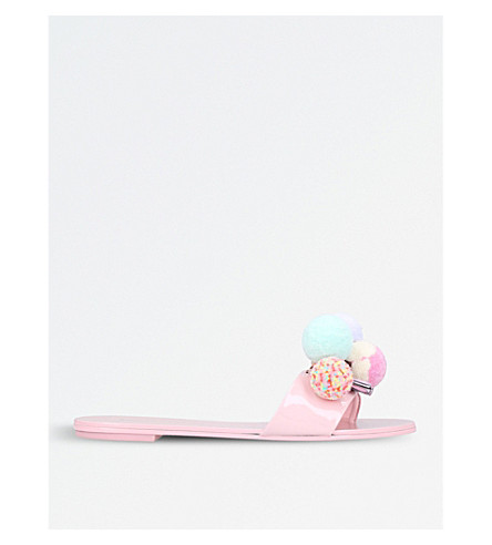 SOPHIA WEBSTER Jada pompom leather slides (Pale+pink