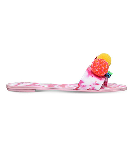 SOPHIA WEBSTER Jada pompom leather slides (Pink+comb