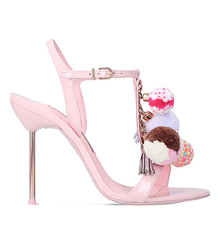 SOPHIA WEBSTER Layla pom-pom patent leather sandals (Pale+pink