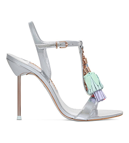 SOPHIA WEBSTER Layla tassel-detail metallic leather sandals (Silver