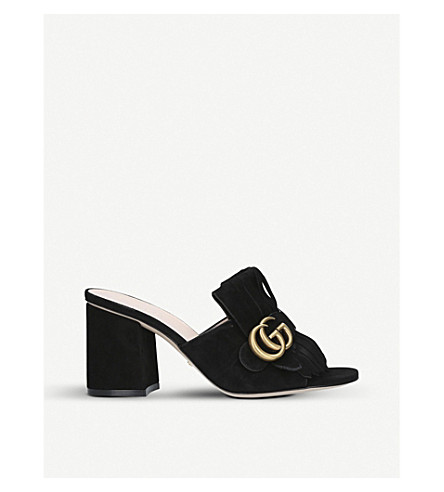 GUCCI Marmont 75 suede mules (Black