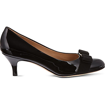 FERRAGAMO Carla 55 patent leather courts (Black