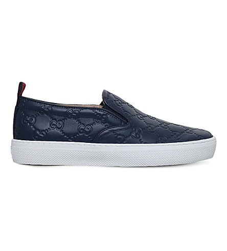 GUCCI Dublin GG leather skate shoes (Blue+other