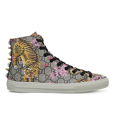 GUCCI Major tiger-print canvas high-top trainers (Other