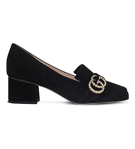 GUCCI Marmont suede courts (Black