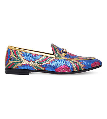 GUCCI New Jordaan embroidered jacquard loafers (Gold+comb