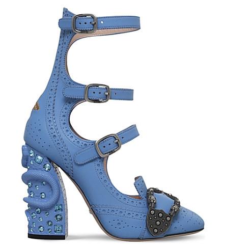 GUCCI Queercore leather pumps (Pale blue