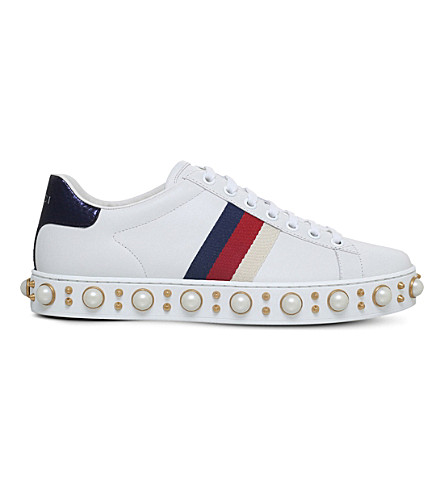 GUCCI Ace leather studded trainers (White/oth