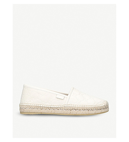 GUCCI Pilar logo-embossed leather espadrilles (White
