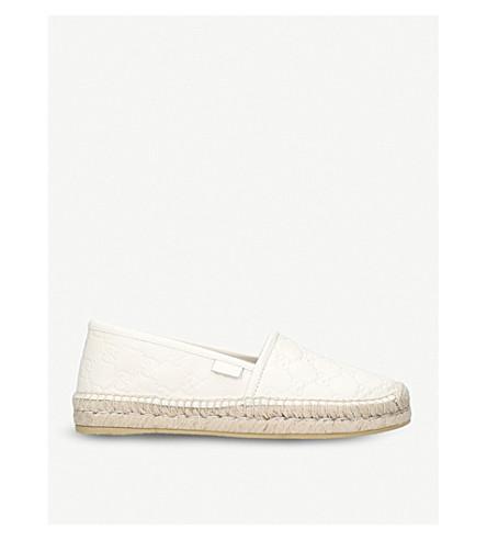 GUCCI Pilar logo-embossed leather espadrilles (White