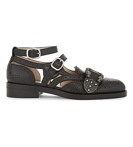 GUCCI Queencore leather sandals (Black