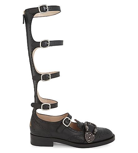 GUCCI Queencore leather gladiator sandals (Black