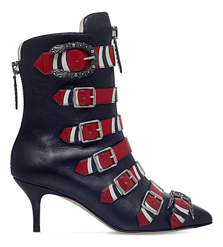 GUCCI Susan buckled leather boots (Blk/other