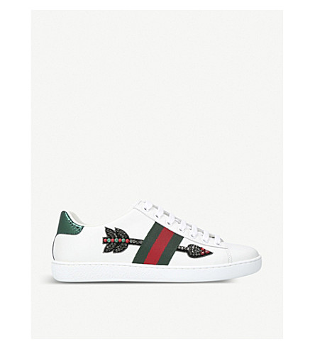 GUCCI New Ace arrow-embroidered leather trainers (White/oth