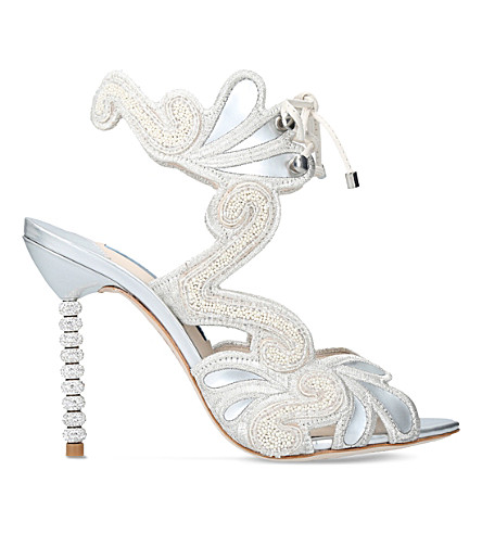 SOPHIA WEBSTER Selina leather heeled sandals (Winter+wht