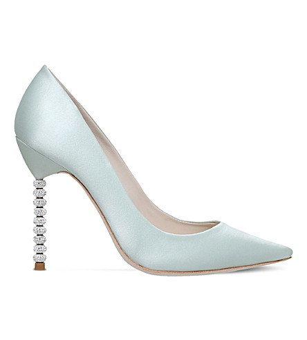 SOPHIA WEBSTER Coco crystal-heel satin courts (Pale+blue