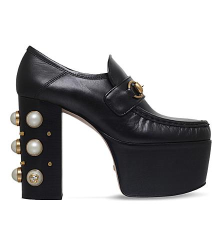 GUCCI 拉斯维加斯镶嵌皮革高跟便鞋 (黑色