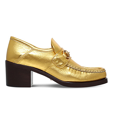 GUCCI Vegas metallic leather loafers (Gold