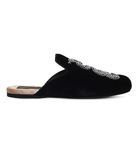 GUCCI Lawrence snake-embroidered velvet slippers (Black