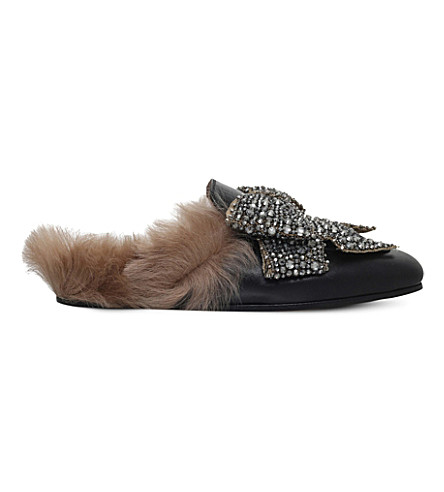 GUCCI PRINCETOWN BOW-STUDDED LEATHER SLIPPERS, BLACK