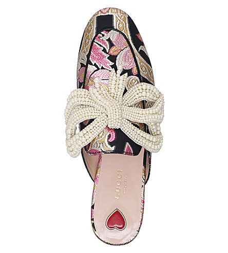 GUCCI PRINCETOWN EMBELLISHED BROCADE SLIPPERS, MULTICOLOR