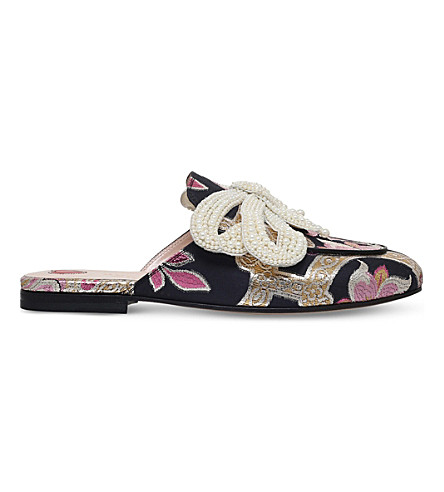 GUCCI Princetown chinoiserie jaquard slides (Pink+comb