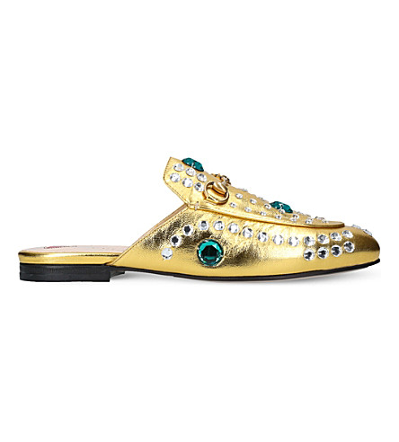 GUCCI Princetown jewel leather slippers (Gold
