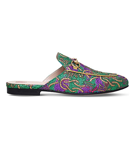GUCCI Princetown Chinoiserie jacquard slippers (Green