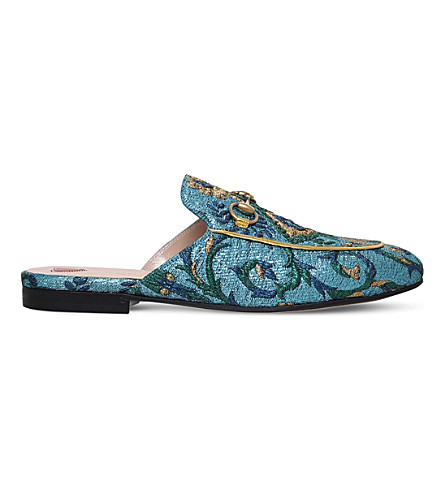 GUCCI Princetown Chinoiserie jacquard slippers (Pale+blue