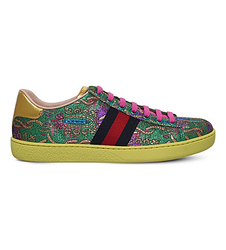 GUCCI New Ace Brocade trainers (Green+comb