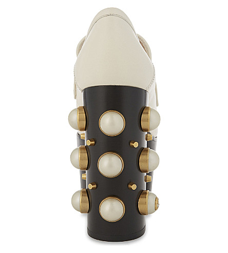 GUCCI VEGAS 125 PEARL LEATHER HIGH HEELED LOAFERS, WHITE