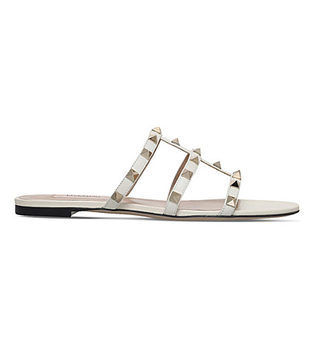 VALENTINO Rockstud leather slide sandals (Winter+wht