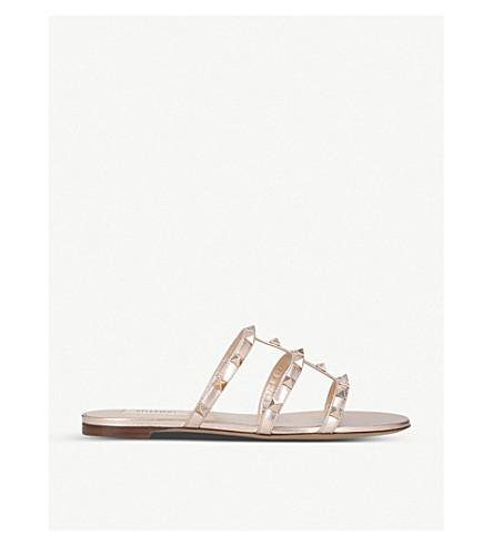 VALENTINO Rockstud metallic-leather sandals (Gold