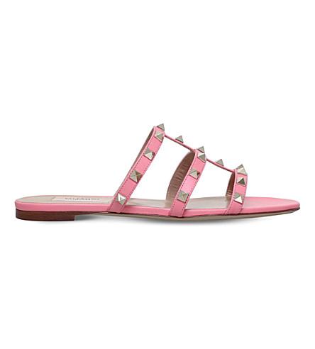 VALENTINO Rockstud leather slide sandals (Pink