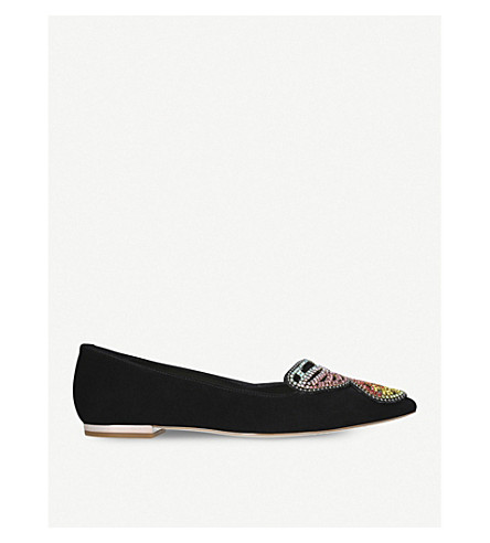SOPHIA WEBSTER Bibi butterfly embellished suede flats (Blk/other