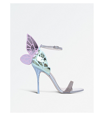 SOPHIA WEBSTER Chiara glitter and metallic-leather heeled sandals (Silver+com