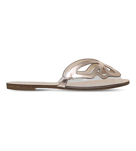 SOPHIA WEBSTER Madame Butterfly metallic leather slides (Bronze