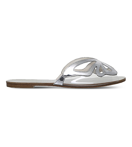 SOPHIA WEBSTER Madame Butterfly metallic leather sliders (Silver