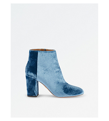AQUAZZURA Brooklyn velvet ankle boots (Blue