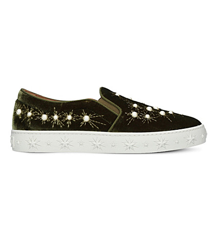 AQUAZZURA Cosmic embellished velvet skate shoes (Khaki