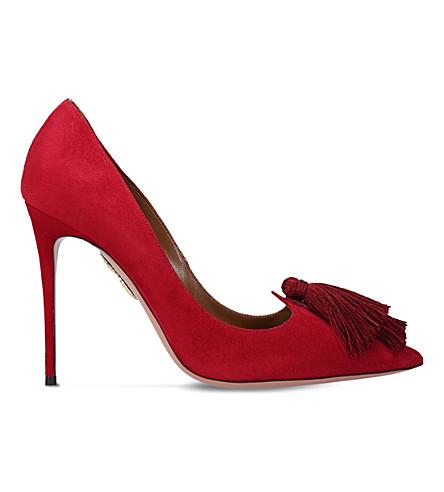 AQUAZZURA Love tassel 105 suede courts (Red/dark