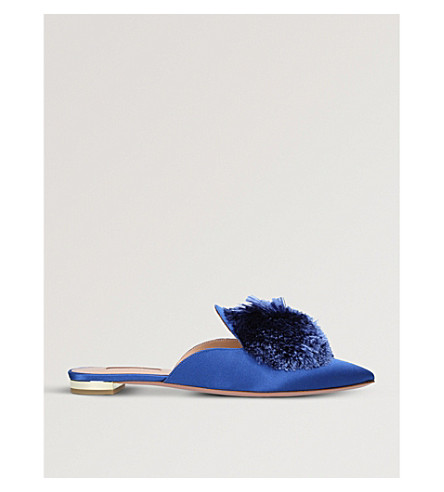 AQUAZZURA Powder Puff satin mules (Blue